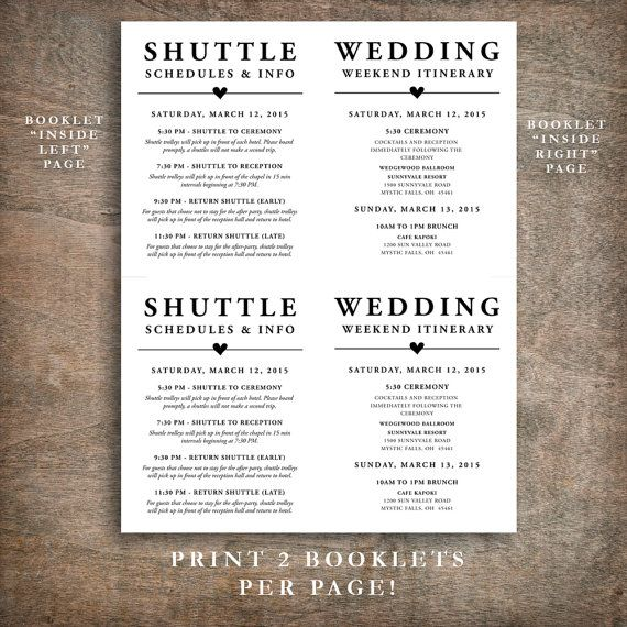 Printable Wedding Welcome Bag Booklet Note by RachelsPrintables