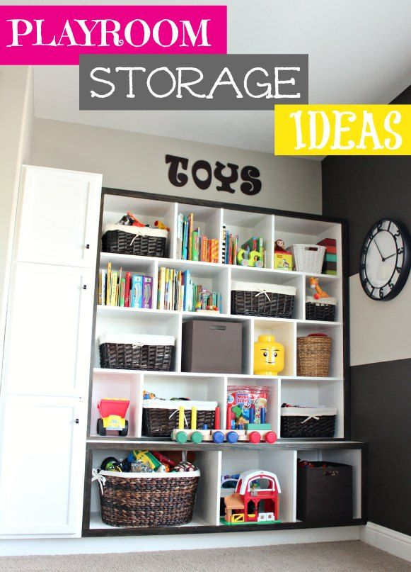 Playroom Storage Ideas by @Allison House of Rose. A great way to store toys, books, and more! #storage #toys #playroom