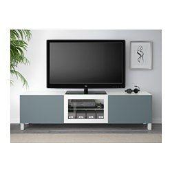 BESTÅ TV-benk med skuffer og dør, hvit, Valviken gråturkis klart glass - 180x40x48 cm - skuffeskinne, trykk-åpen-beslag - IKEA