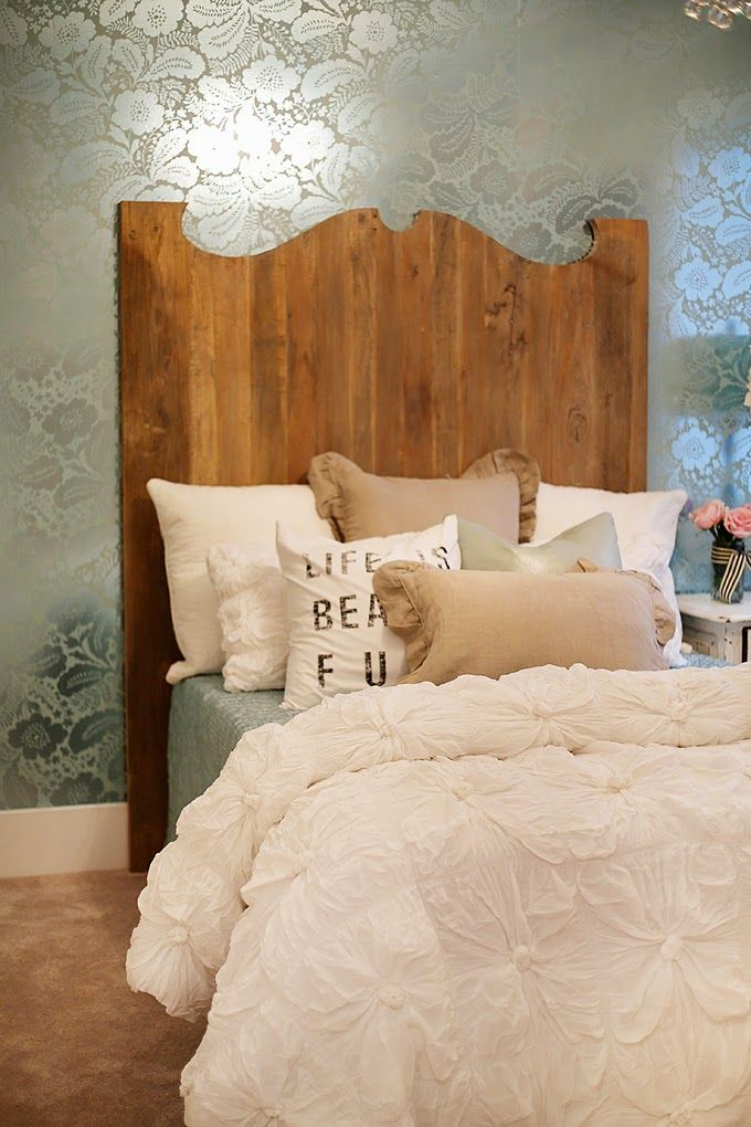 214 best images about unique headboards on pinterest diy for Wallpaper headboard