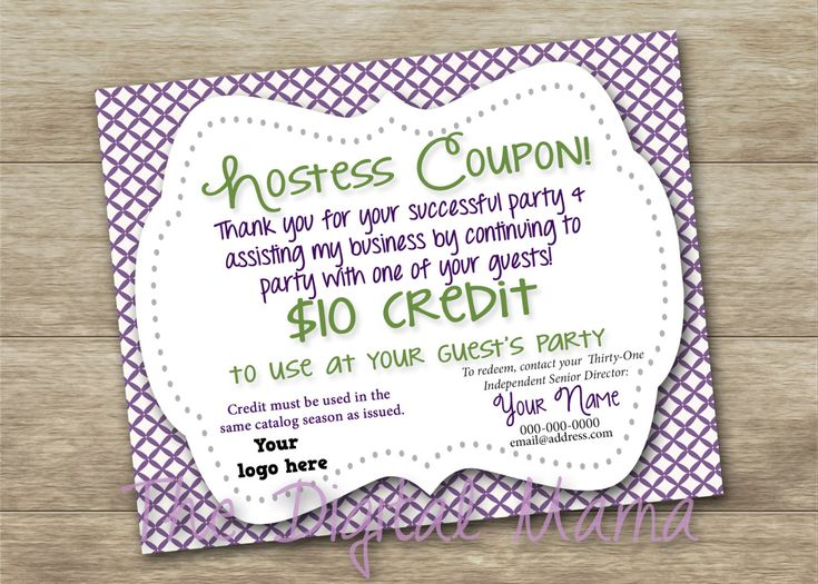 Direct Sales Consultant - Hostess Coupon - Thirty-One - Digital Download by TheDigitalMama on Etsy
