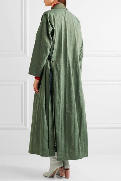 Topshop Unique - Redford Oversized Cotton Canvas-paneled Twill Trench Coat - Army green - x small