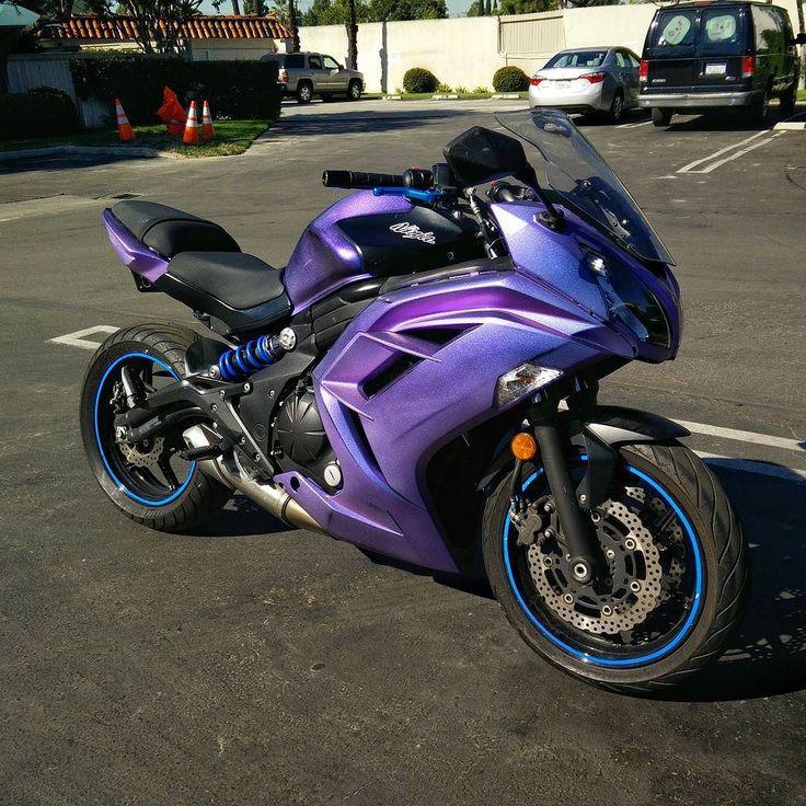 Purple to blue colorshift for my #Ninja650  #kawasaki #custompaint #clearcoat #designs #designer #artistic_share #artist #custommade #bloggers #gloss #shiny #motorcycle #motorbike #sportsbikelife #sportbike #likesforlikes #likers #likes4likes #likeback #vscocam #vsco #vsc #instago #instalike #purple #blue #chameleon #plastidip by randolphm3