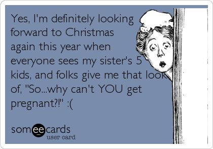 Yes, I'm definitely looking forward to Christmas again this year when everyone sees my sister's 5 kids, and folks give me that look of, 'So...why can't YOU get pregnant?!' :(