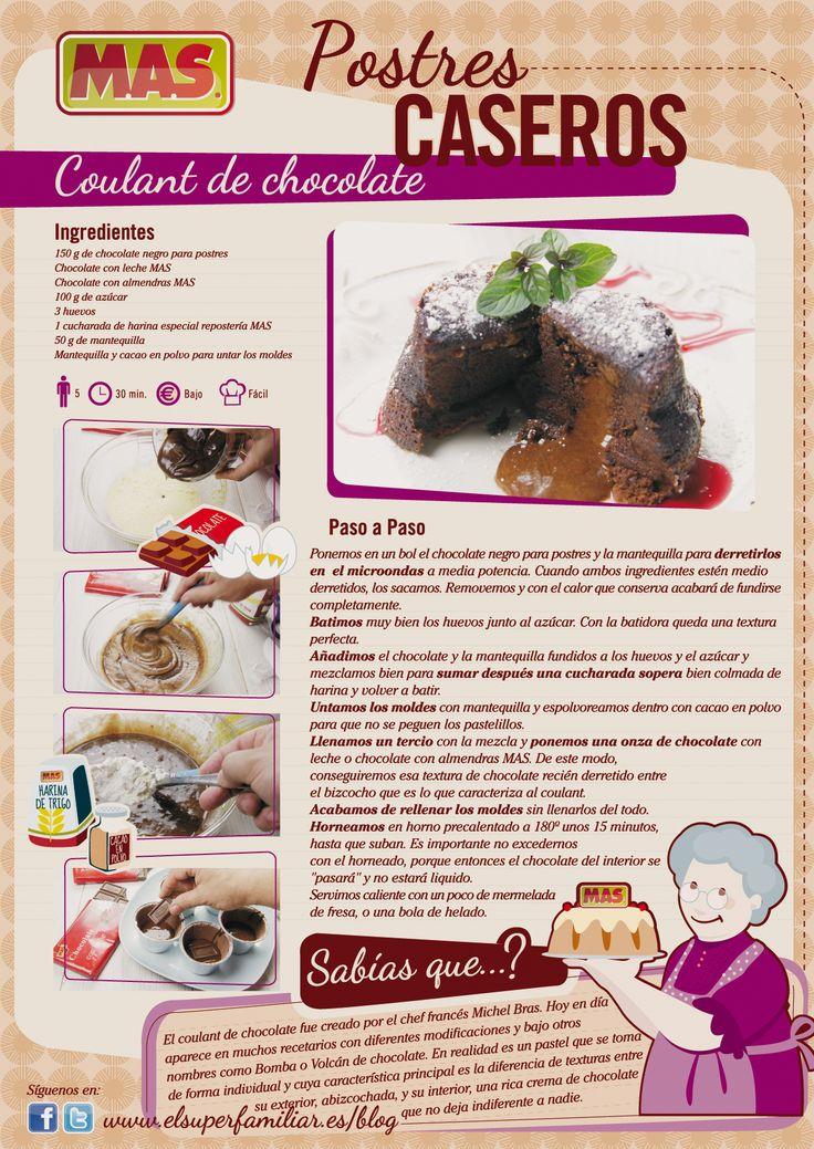 #Receta de #Coulant de #chocolate. Déjate enamorar por este rico postre