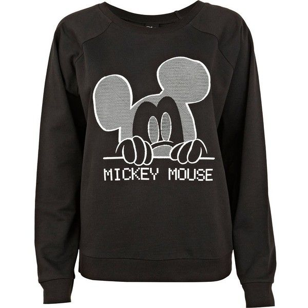 River Island Black Mickey Mouse print sweatshirt ($45) ❤ liked on Polyvore. I really want this!!