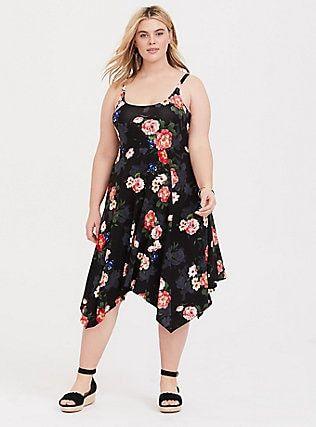 11157136d81 Black Floral Trapeze Dress