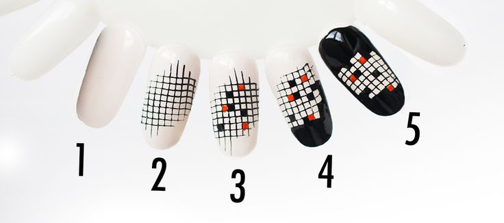 nail art quadrillé inspiration H&M printemps 2016