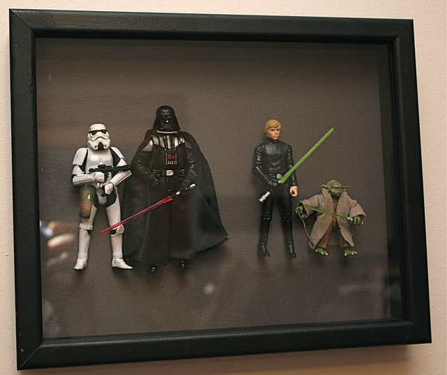 Action figure shadow box for the kids rooms.  What a great idea!  http://atsecondstreet.blogspot.com/