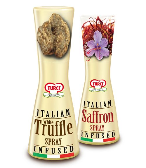 Turci Insusion #Spray http://www.turci.it #Traditionally healthy High quality White #truffle and #Saffron stigmas are #hand-selected and carefully worked to preserve their intense #scent and #flavour. They do not contain any preservatives or colourings. GMO free.