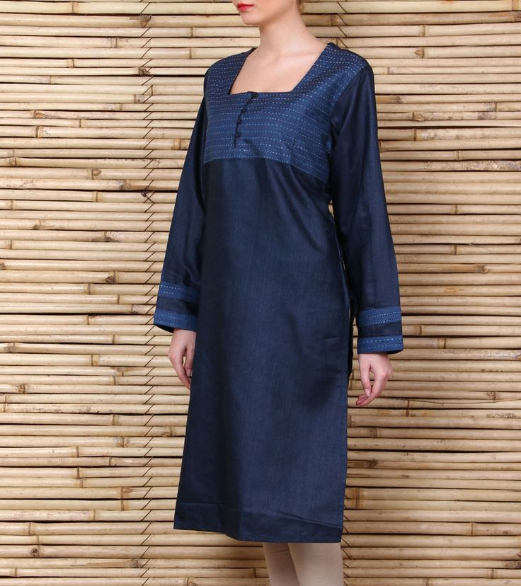 Blue #silkkurta with kantha work. kantha is the traditional running stitch. Kurti Pinterest ...