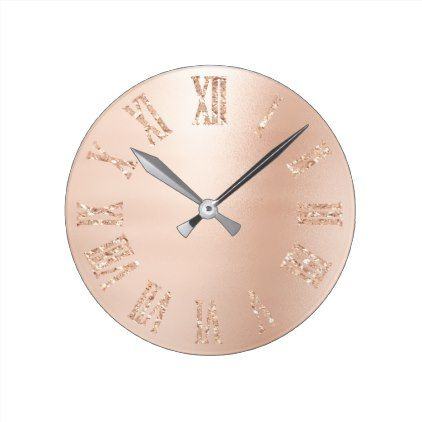 Blush Pink Rose Gold Glitter Metallic Roman Number Round Clock - diy cyo customize create your own #personalize