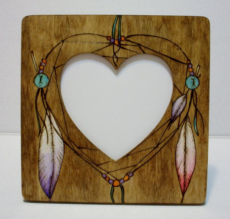 photo dream catcher picture frame heart shaped opening 8x8 inches with 5.13x4.88 inch opening desk stand and wall hanger included by constersue on Etsy