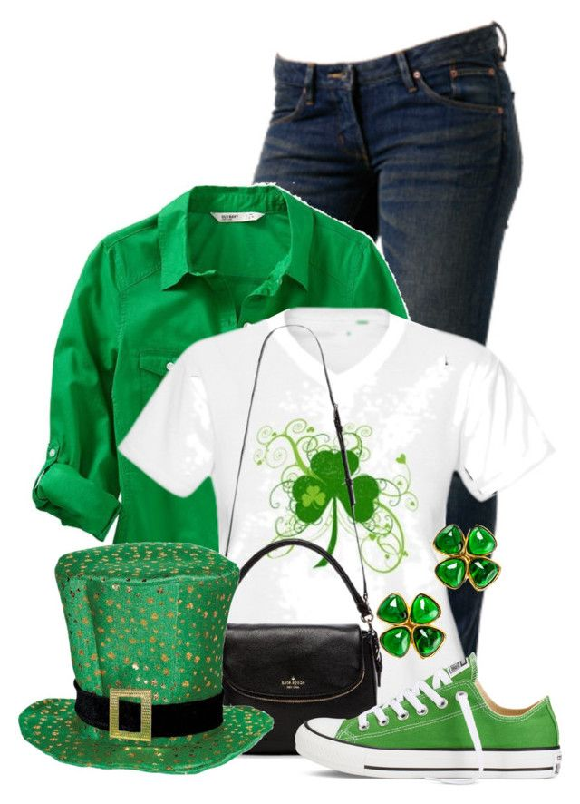 """The Luck of the Irish"" by colierollers ❤ liked on Polyvore featuring WeSC, Old Navy, Kate Spade, Converse, Chanel, women's clothing, women, female, woman and misses"
