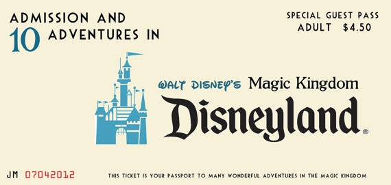 Disneyland E Ticket wedding invitation graphic template ...