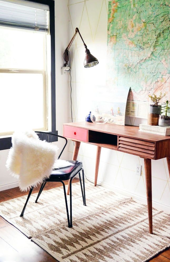 Revamp a corner in your room with a mod desk and chair to make a cozy workspace.