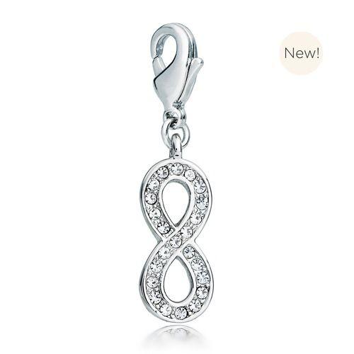 Infinity Charm with Swarovski® Crystals Rhodium Plated