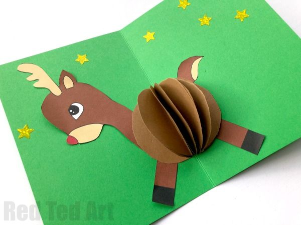 3d Reindeer Card Diy Red Ted Art Make Crafting With Kids Easy Fun Diy Christmas Cards Pop Up Diy Christmas Cards Christmas Cards Kids