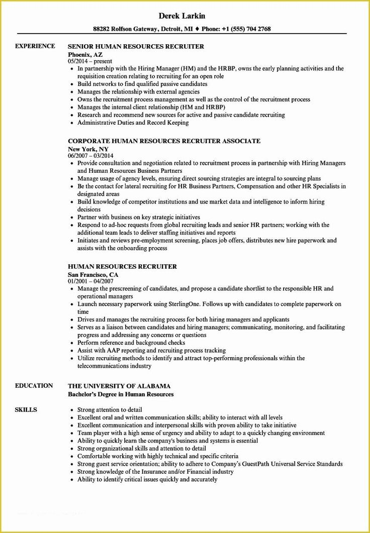 Entry Level Recruiter Resume Awesome Recruiter Resume