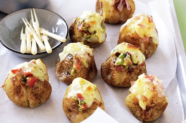 Mini jacket potatoes (savoury party food)