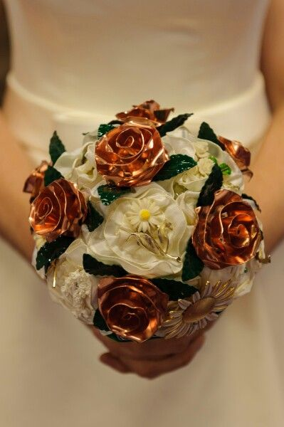 Copper rose bouquet; a Moss and Mushroom collaboration with KT Metal Design, photo by David McAuley Photography