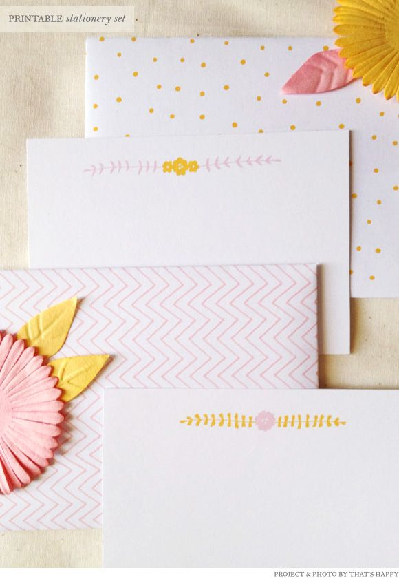 Free printable stationery set from That'sHappy | Creature Comforts