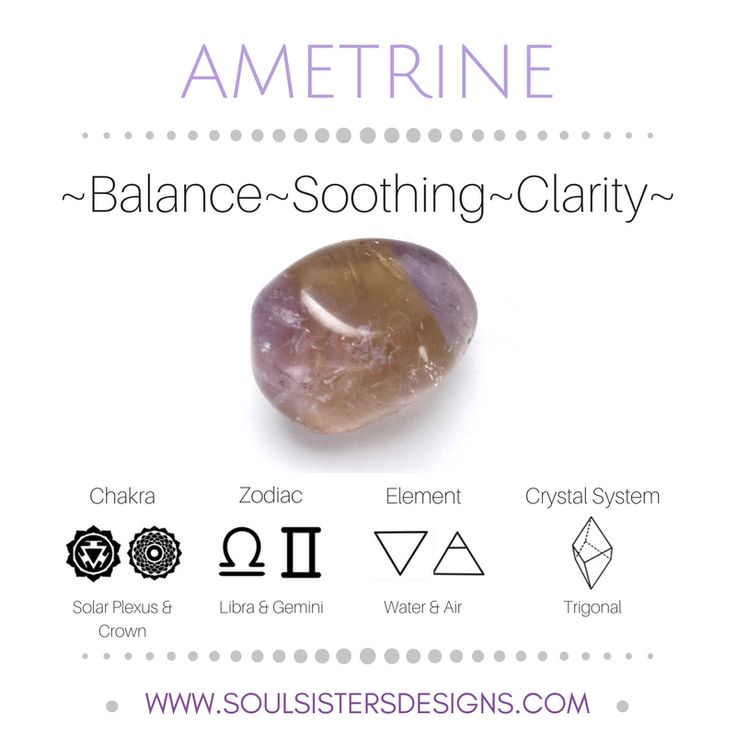 Metaphysical Healing Properties of Ametrine, including associated Chakra, Zodiac and Element, along with Crystal System/Lattice to assist you in setting up a Crystal Grid. Go to https://www.soulsistersdesigns.com/ametrine to learn more!