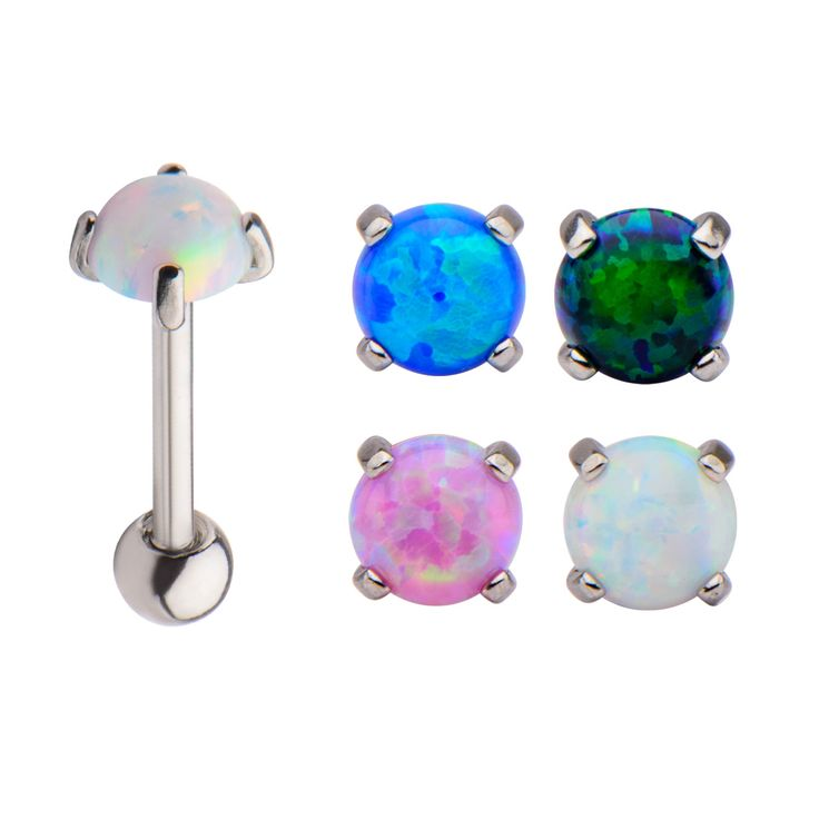 18g 5/16 Internal External Barbell with 5mm Prong Set Synthetic Opal Cab End and Ball End. Made from 316L #Bodyvibe #bodyjewelry #jewelry #piercing #cartilageearrings