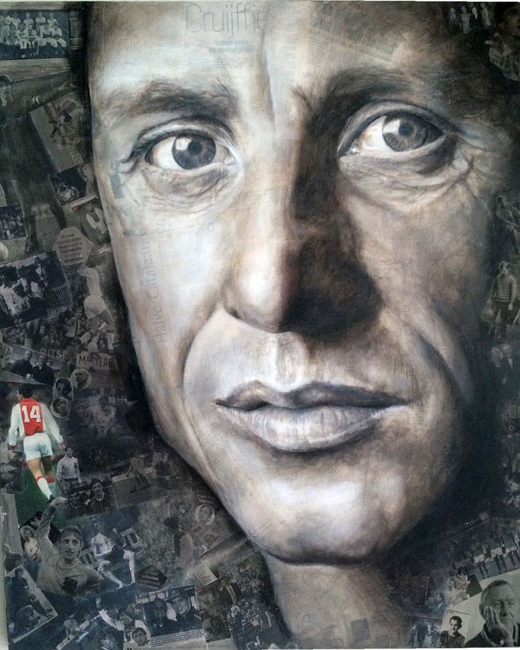 Johan Cruijff geschilderd op krantenartikelen. Acryl 1.00 x 1.20