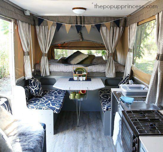 Daneve's Pop Up Camper Makeover - The Pop Up Princess. Table setting & basket underneath