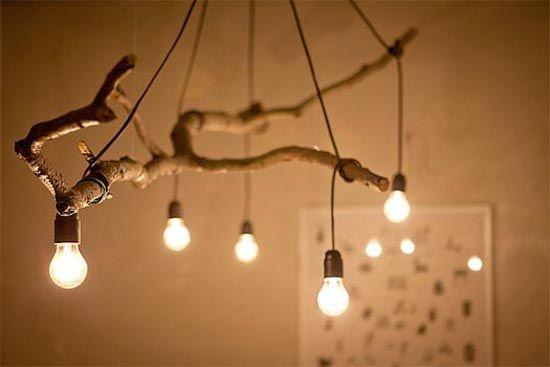 Utiliser une branche d'arbre comme chandelier