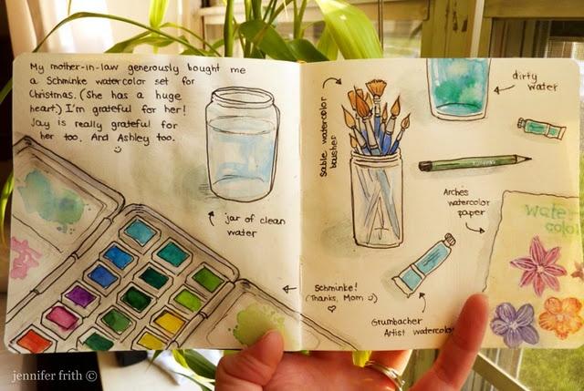 Gratitude Journal.: Watercolor Art, Art Journals, Gratitude Journals, Journals Ideas, Sketchbooks Journals, Journals Art, Gardens Journals, Jenny Frith, Jenny Sketchbooks