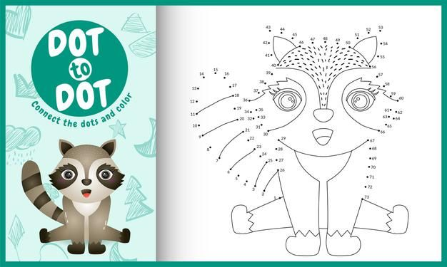 Connect The Dots Kids Game And Coloring Page With Raccoon Character In 2021 Unicorn Coloring Pages Cow Coloring Pages Bird Coloring Pages