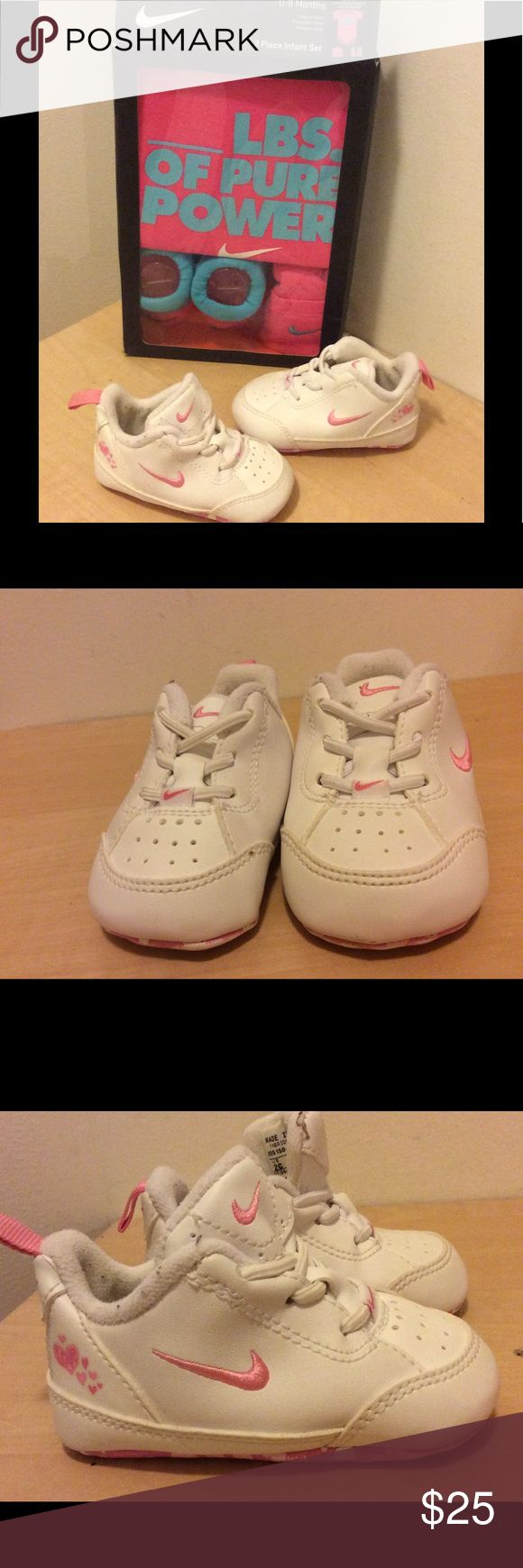 Infant Nike Onesie Set & Nike Heart Sneakers Sz 2c Awesome NEW onesie set size 0-5 months and nike shoes with normal signs of wear size 2c Nike Shoes Sneakers