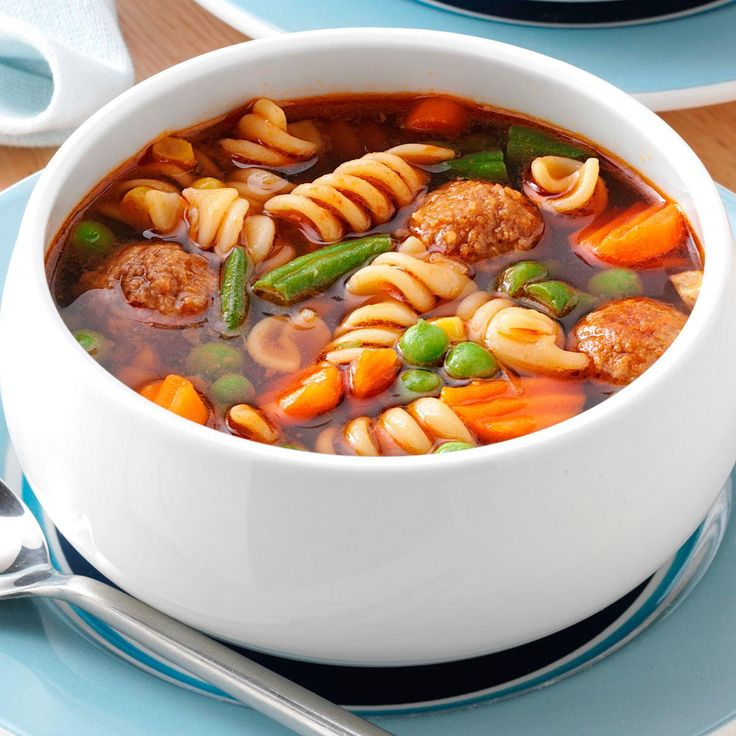 Veggie Meatball Soup for 3 Recipe -It's a snap to put together this hearty soup before I leave for work. I just add cooked pasta when I get home, and I have a few minutes to relax before supper is ready. —Charla Tinney, Tyrone, Oklahoma