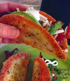Recipe from Kathryn  Bacon Tacos ....   To make the shells....  http://kathrynslowcarbkitchen.blogspot.com/2014/03/p3-provolone-tac...