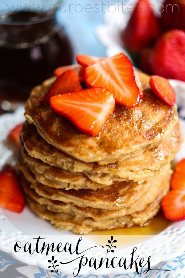 Whole Grain Oatmeal Pancakes from Our Best Bites--oats, whole wheat flour, coconut oil, and amazingly fluffy and delicious!