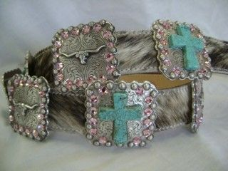 Western Concho Belts with vintage cowgirl pictures accented