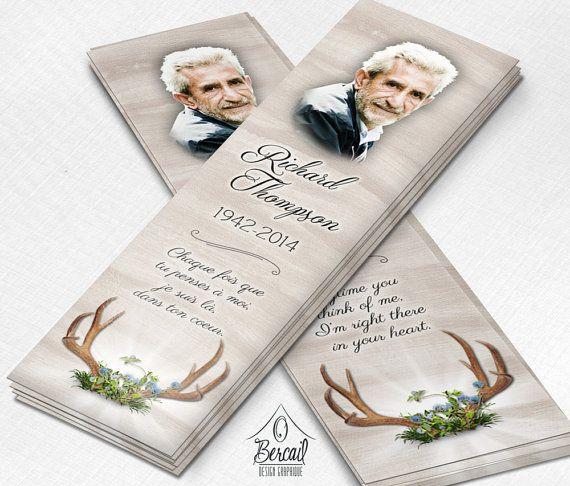 Celebration of Life Bookmark for Hunter with Deer Antler • Memorial Gifts • Funeral Bookmarks for Husband • Memorial Service for Him • OBercailDesign