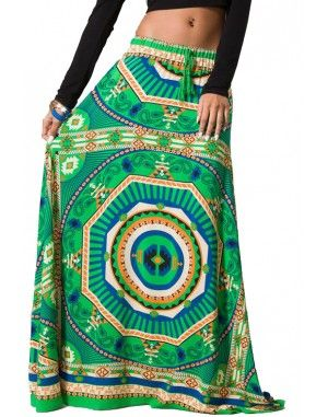 This is a gorgeous ethnic full skirt. It is a long maxi skirt style with flared silhouette and braided fray drawstring on the elastic stretch waist. It has a unique tribal print on the front and back. Such a pretty addition to your boho wardrobe! www.destyniboutique.com