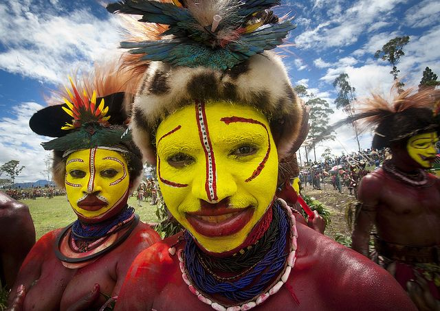 Hulis tribe girls in Mount Hagen festival singsing - Papua New Guinea by Eric Lafforgue, via Flickr