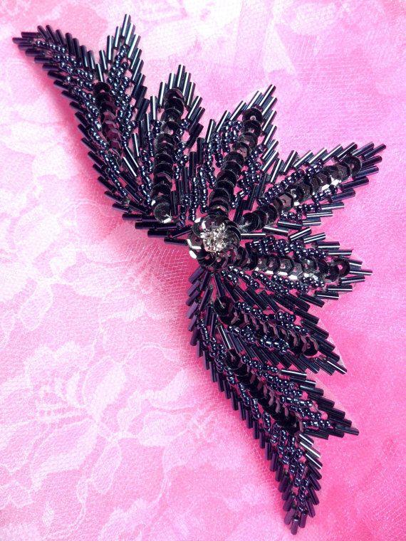 Gunmetal Crystal Motif Sequin Beaded Applique Patch DIY Hair Accessory Measures: 7 x 3