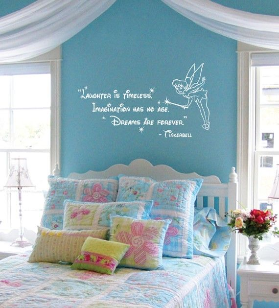 quote wall words sticker decal cute more girl room tinkerbell bedroom