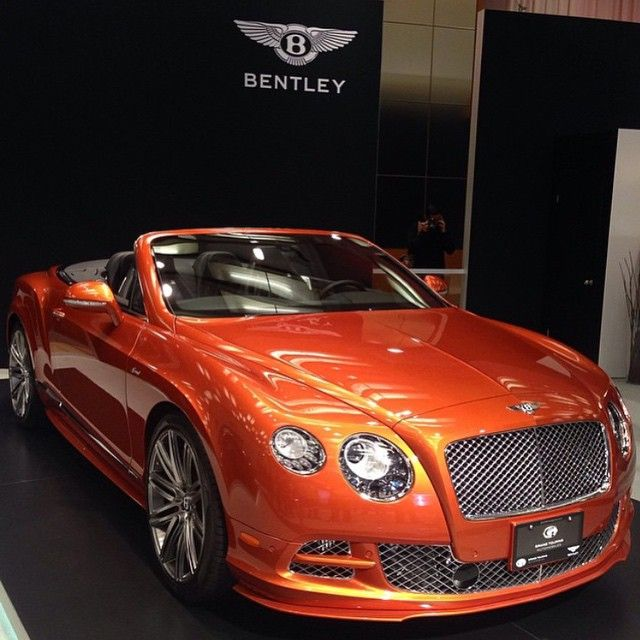"""2015 #Bentley ContinentalGT Speed Convertible Finished In Orange Flames • Follow @grandtouringautos"""