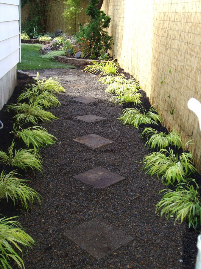 Pea Gravel In Dog Yard | Gravel Pathway With Pavers And Forest Grass Border