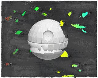 27th February    Sci-fi painting    By Manuel Fernández , Artist, Madrid        Rotating 3D Death Star Model over modernist rainbow deegre animation painting  #15folds #gif