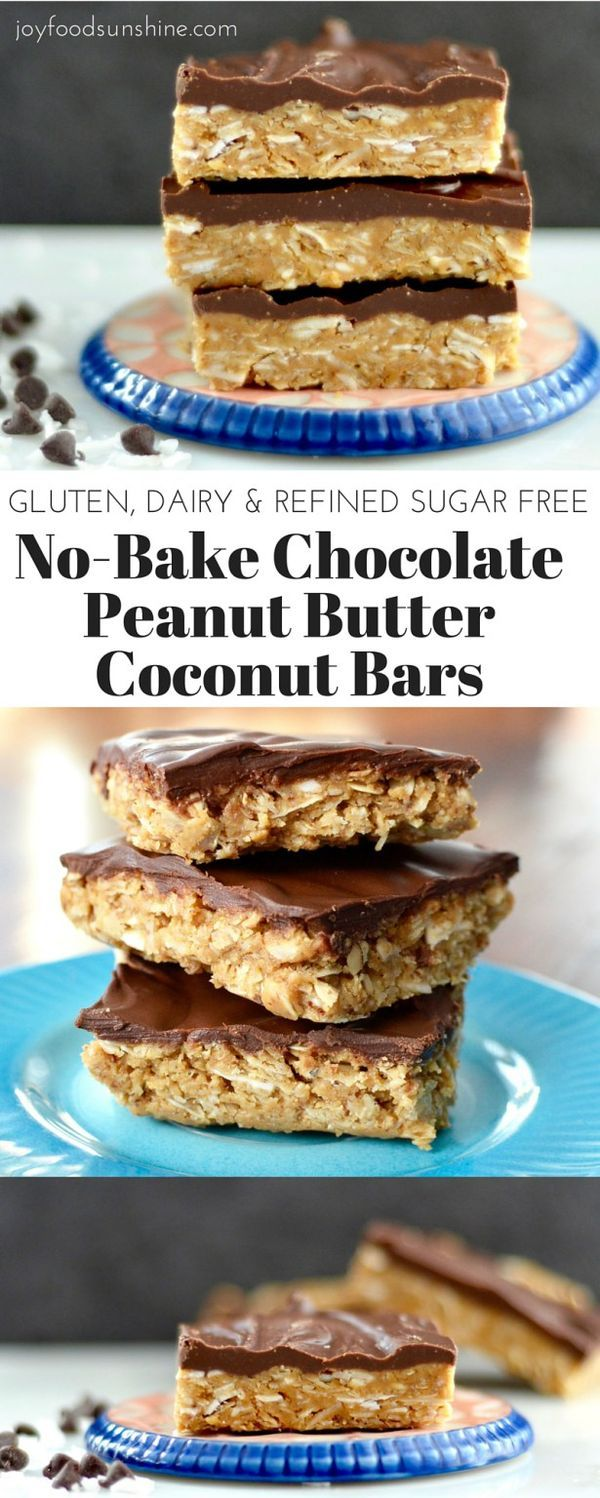 No-Bake Chocolate Peanut Butter Coconut Bars Recipe! Peanut butter, honey, coconut and oats make up these delicious dessert bars! Gluten-free, dairy-free, and refined-sugar free. You get the taste of a decadent dessert with zero guilt!