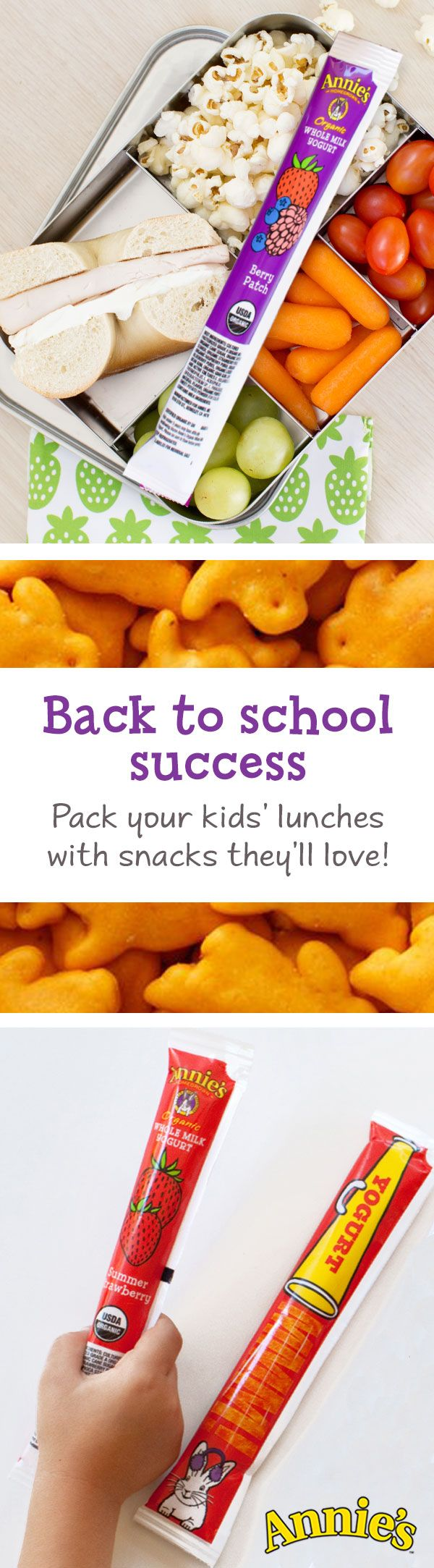 Lunch packing is now easy-peasy with Annie's delicious and wholesome back-to-school lunch options! You'll find everything you could ever need - like our Organic Whole Milk Yogurt Tubes, to give your little one an A+ lunch without  synthetic flavors or colors.