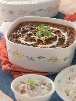 Dal makhani, a flavourful robust lentil preparation, is a celebrated delicacy from punjab. Rajma and whole urad provide protein and calcium which are extremely important for maintenance of your body cells and healthy bones. Cooking the dal in tomato purée adds a little sharpness to this dish and also enriches it with folic acid and vitamin a. Try this dal with methi makai ki roti, to make a satisfying low fat meal.