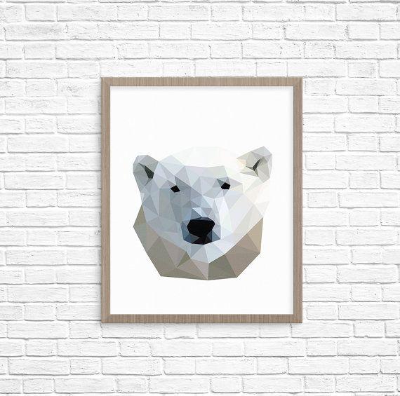 Geometric Polar Bear Print, Arctic animal print, Modern Minimal Print, Room decor, Instant Download print, Geometric animal art, polygonal